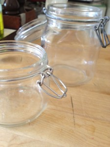 empty clean jars homemade sauerkraut | stems and all