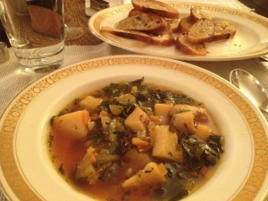 root vegetable soup with toasted bread rounds | stems and all
